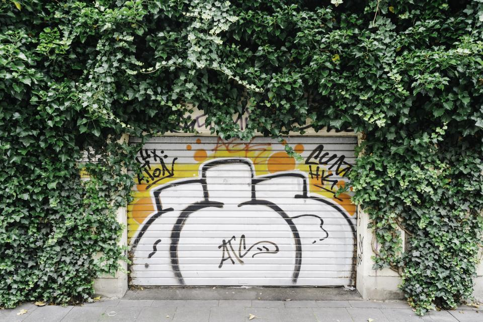 vandal art paint garage wall leaves green graffiti