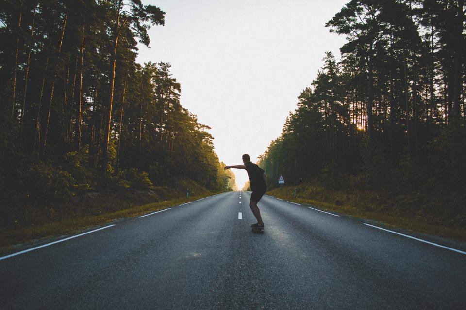 guy, people, skateboarding, skateboard, skateboarder, road, pavement, sunset, dusk, shadow, trees, forest, nature, outdoors, summer