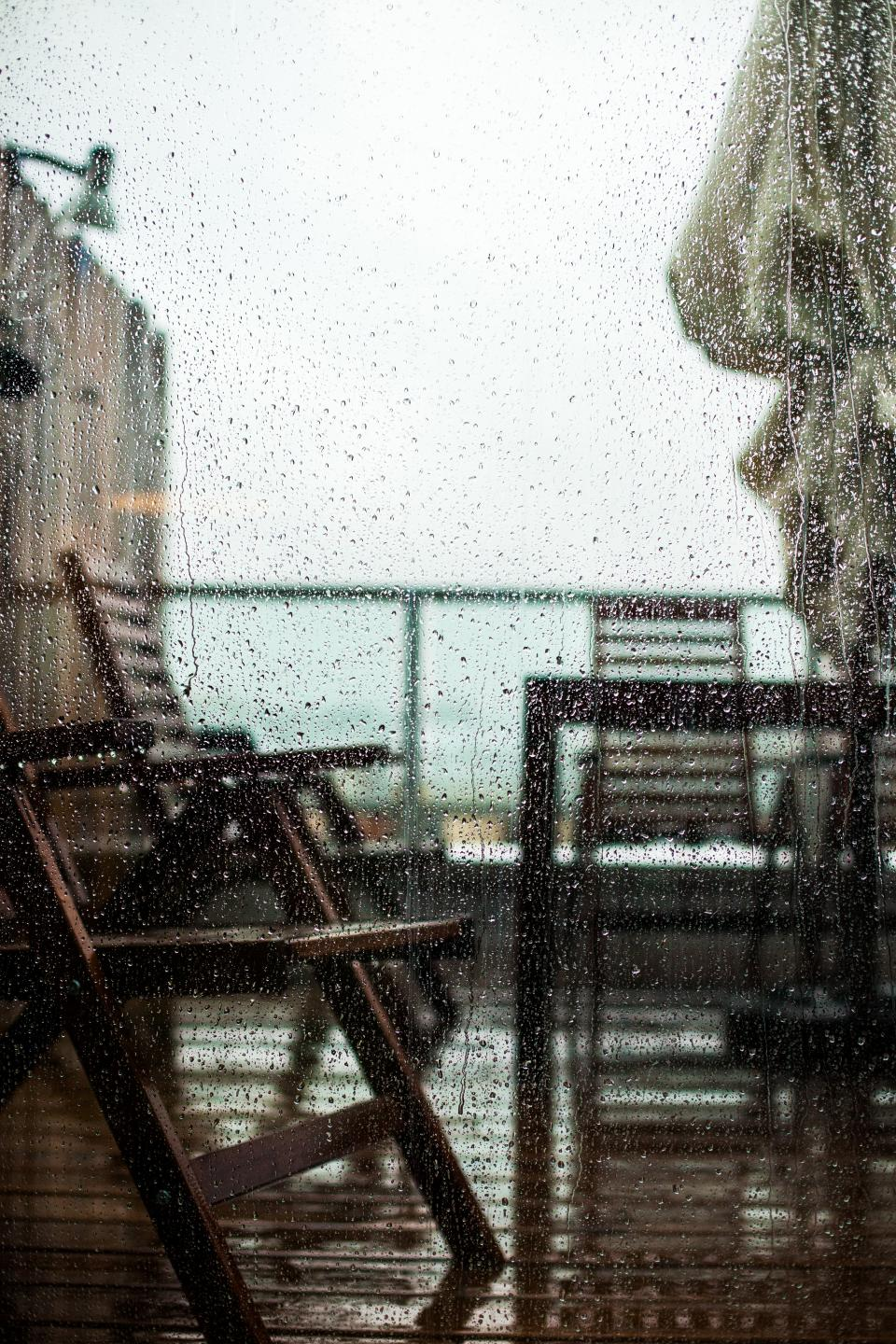 glass, window, rain, veranda, chair, chill, relax