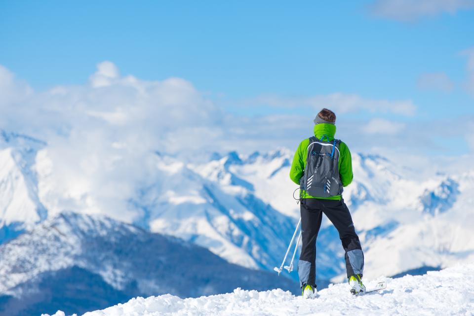 mountaineer, people, man, adventure, outdoor, mountain, sky, clouds, hiking, climbing, landscape, ridge, peak, summit, snow, winter, skiing, sport, outdoor
