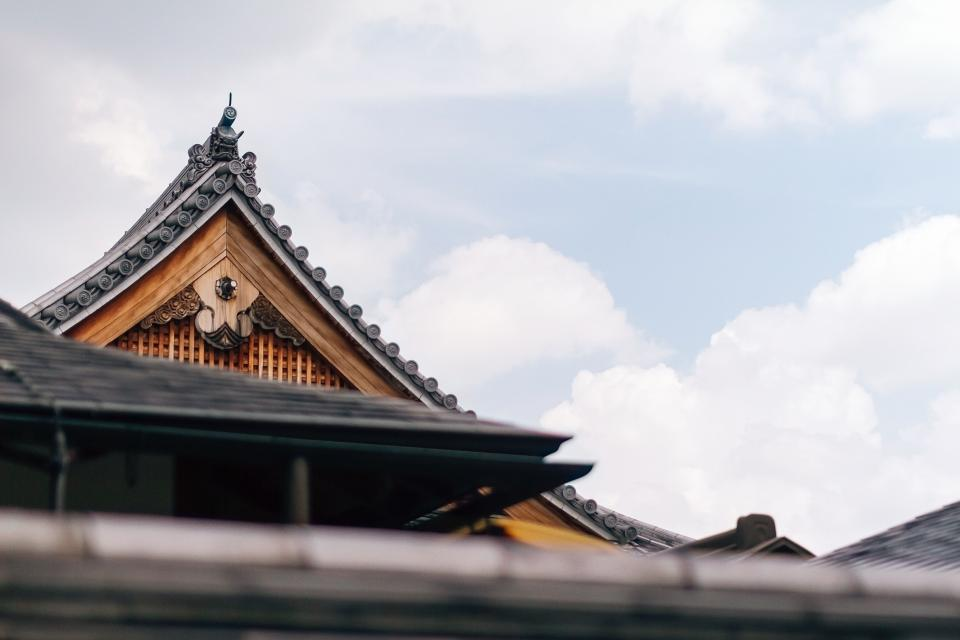 architecture, building, infrastructure, roof, temple, cloud, sky