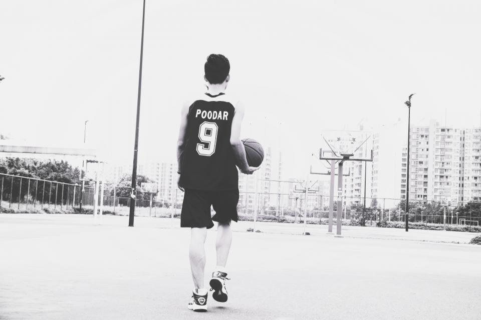 guy, basketball, athlete, fitness, sports, court, health, people, black and white