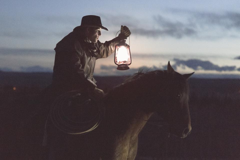 guy, man, male, people, side, view, cowboy, ride, horse, lasso, lamp, masculine, dusk, dawn, nature, sky, clouds