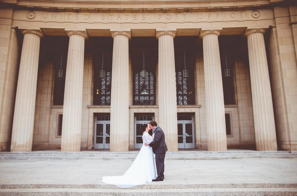 people, man, girl, kiss, love, hug, wedding, gown, suit, marriage, building, structure, office, united states