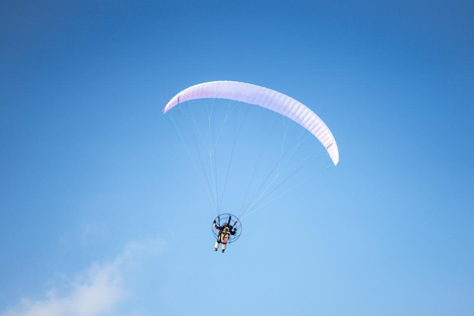 fun, exciting, parachute, jump, man, people, sky