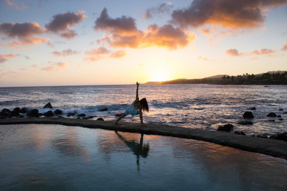 yoga, fitness, exercise, health, working out, pose, girl, woman, people, sunset, beach, sand, water, ocean, sea, summer