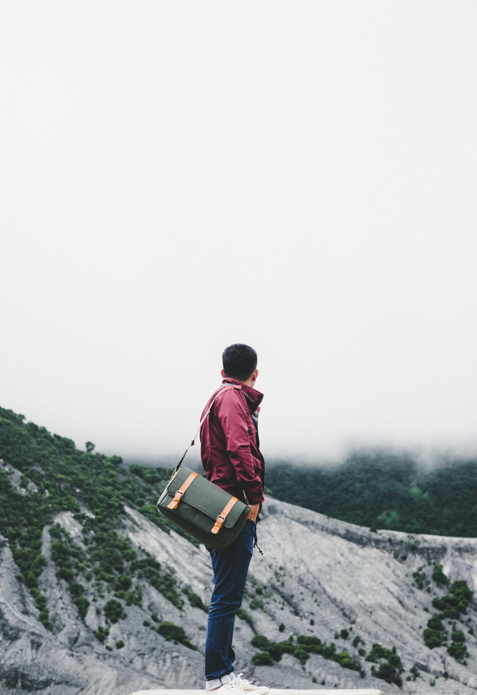 adventure, fog, guy, man, people, landscape, clouds, photographer, bag, trees, grass, sky, outdoor, nature, male