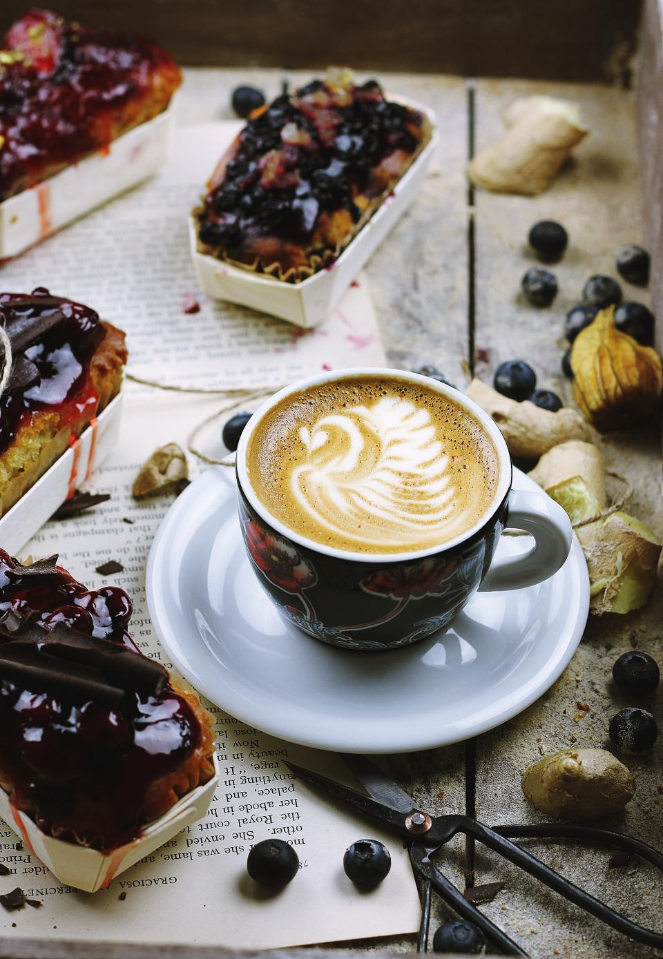 coffee, hot, drink, espresso, cup, saucer, cafe, coffeehouse, latte, art, cakes, desserts, food, sweets