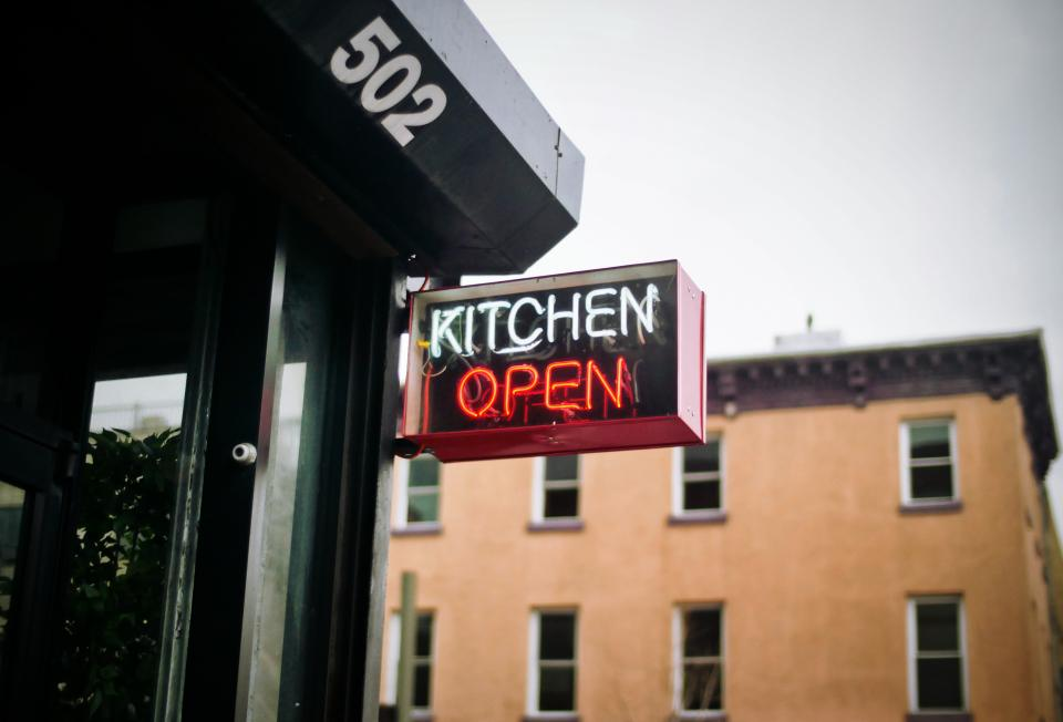 kitchen open sign restaurant food dine