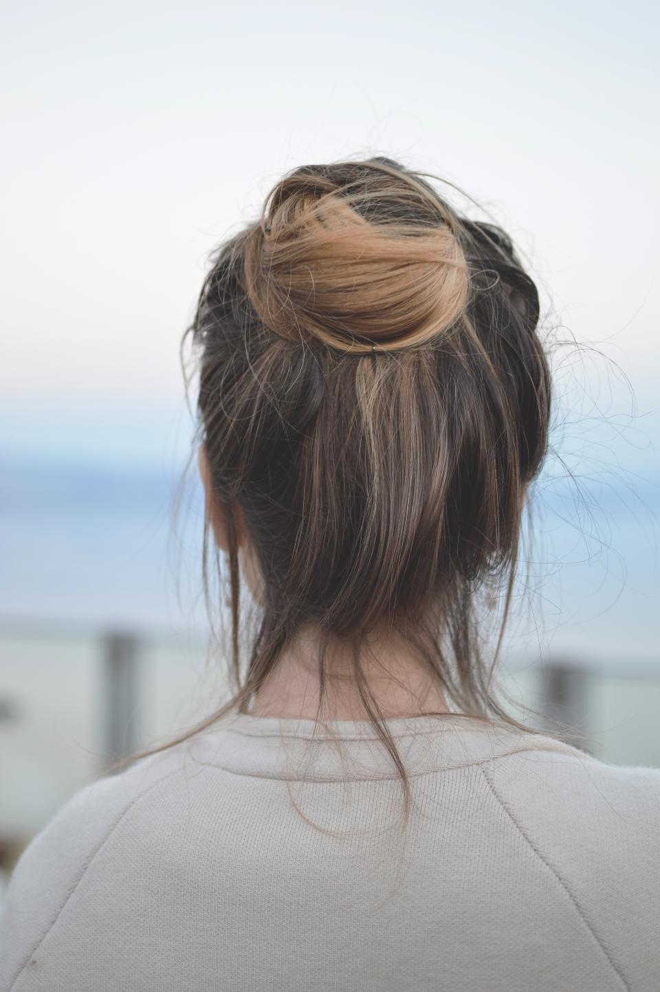 hair, people, woman, bun, tie, messy, earrings, accessories