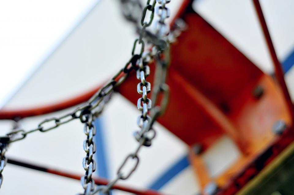 basketball, hoop, rim, chains, court, sports