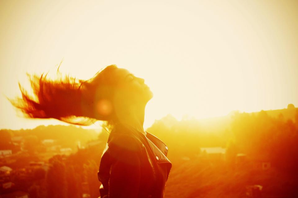 sunshine sunlight sunset sunrise reflection people girl female happy