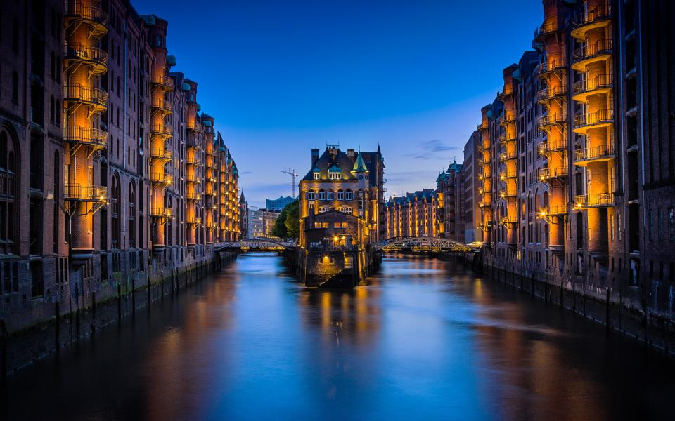 buildings, architecture, city, infrastructure, blue, sky, river, water, lights, dark