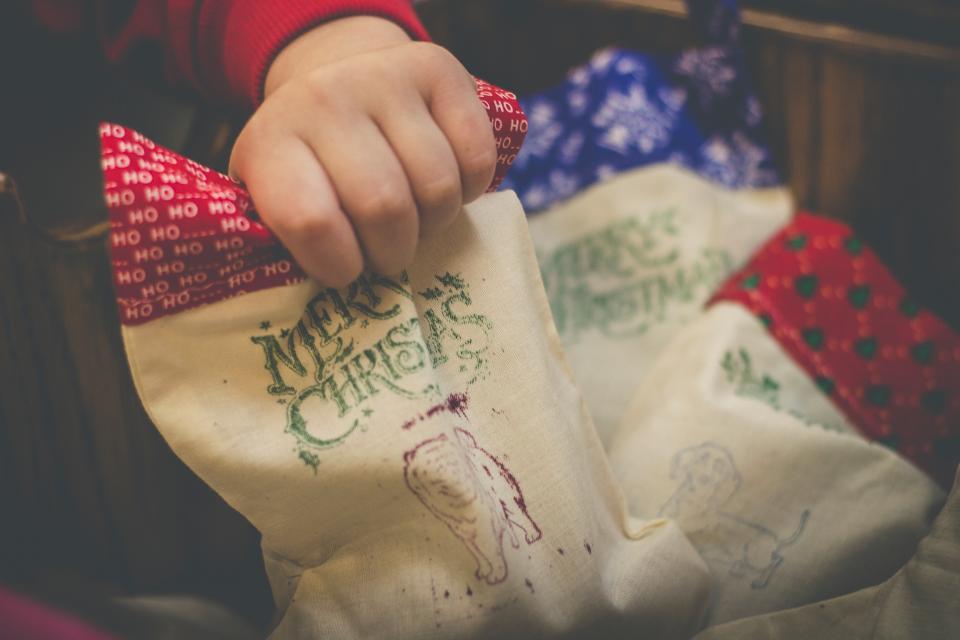 christmas decoration socks hand kid logo gift holiday