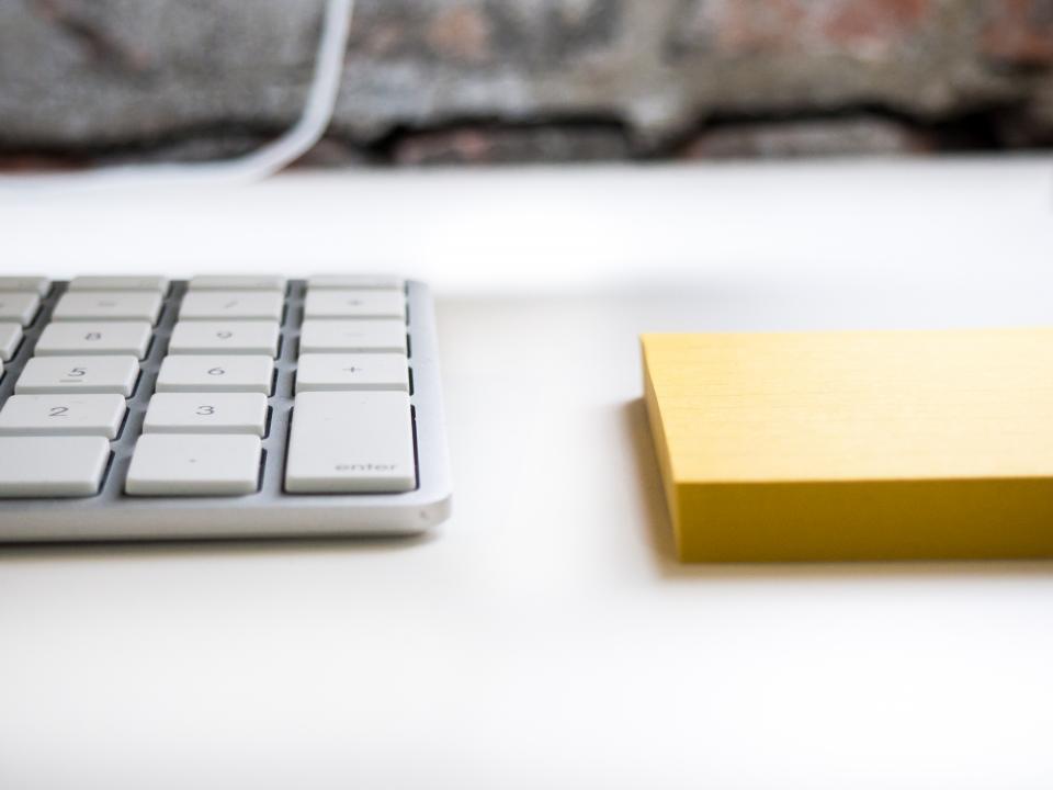 keyboard office desk business work technology sticky notes