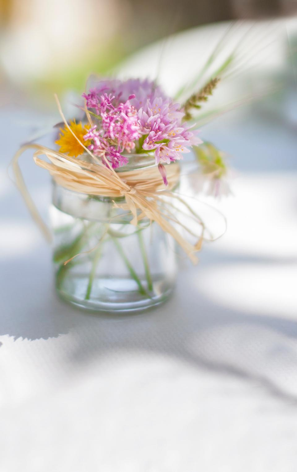 flowers, glass, water, ribbon, bokeh, blur, petals. lavender, white, nature