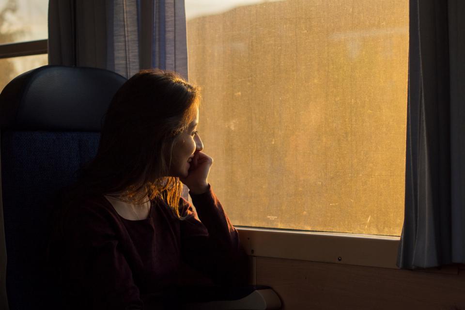 people girl smile happy travel trip ride window transpotation