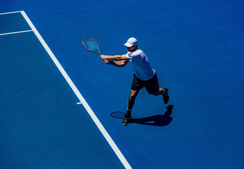 people, man, sport, tennis, hobby, game, shadow, sunny, play, ball, racket, court