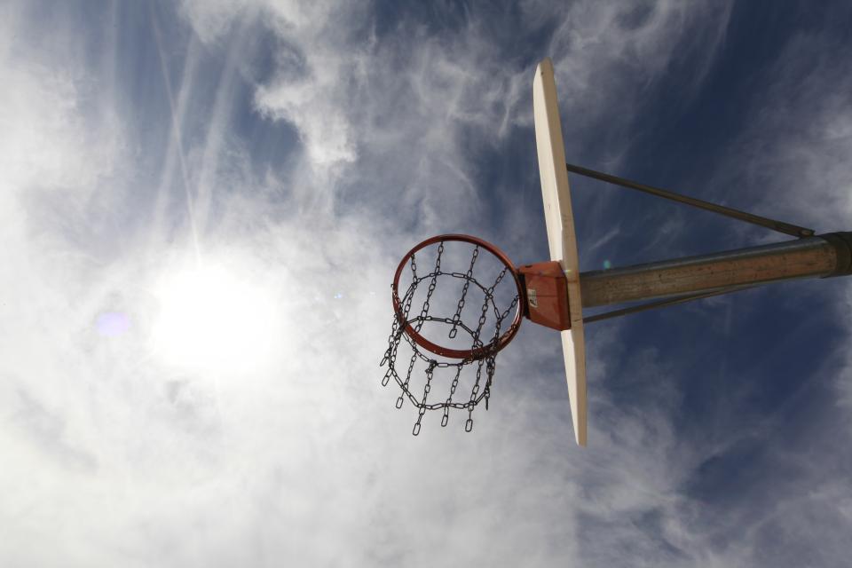 basketball, hoop, net, chain, sky, clouds, sports, sport, fitness