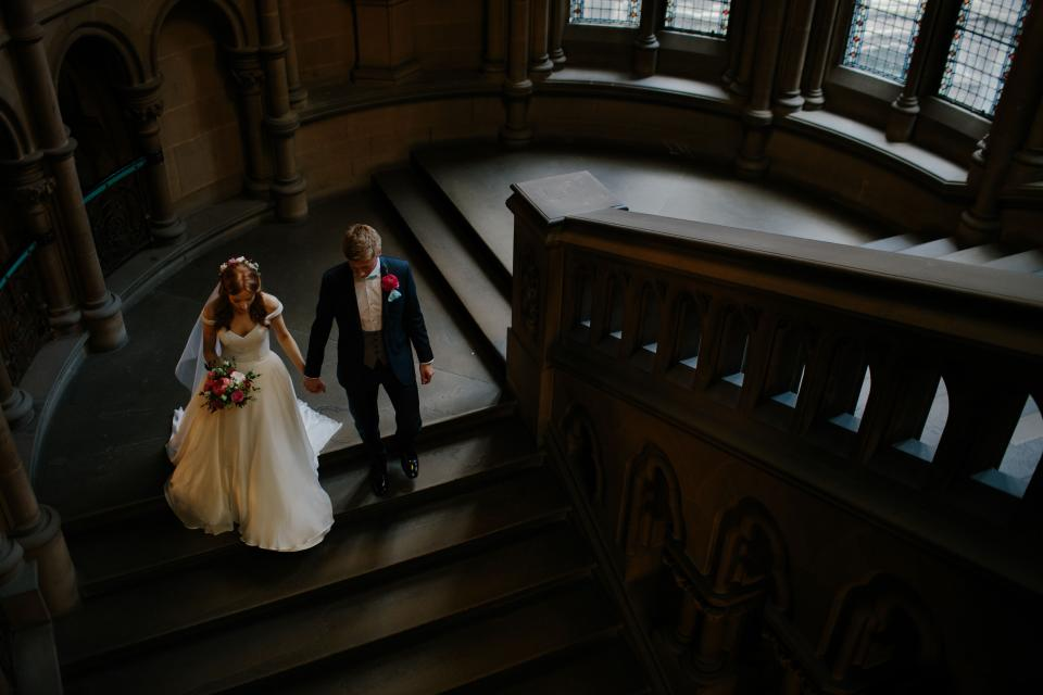 people, man, woman, couple, love, romance, wedding, bride, groom, gown, stairs, marriage, flowers, bouquet