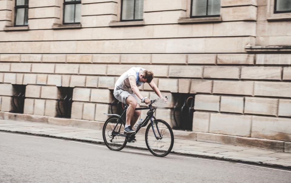 people, man, guy, bicycle, road, street, walls, building, windows, health, fitness