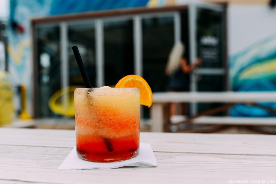 drinks juice cocktails mocktails orange garnish glass beverage bar