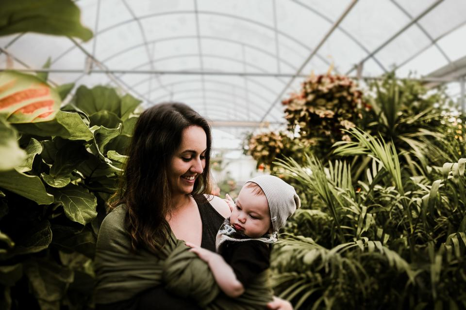 people mother child baby infant kid toddler woman green plants garden outside