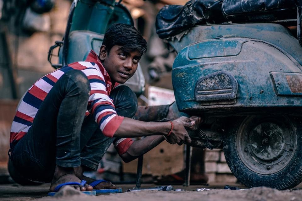 people, kid, teen, man, repair, motorcycle, old, dirty