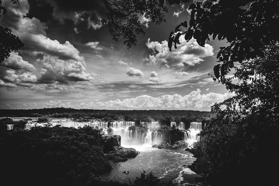 Iguazu Falls, waterfalls, landscape, river, trees, sky, clouds, nature, black and white