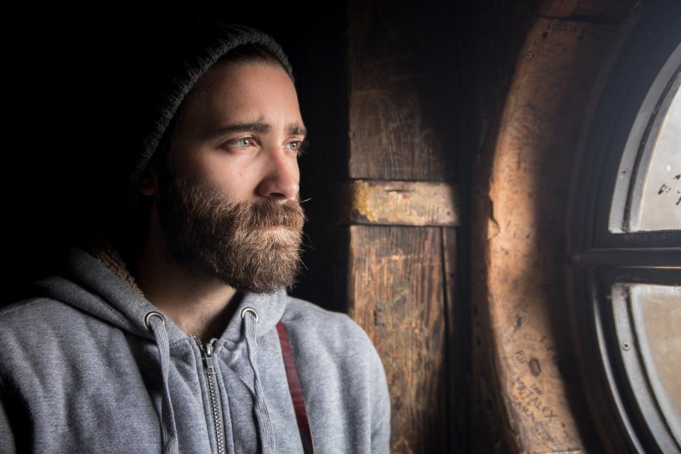 beanie. guy, man, beard, jacket, grey, looking, people, window, sad