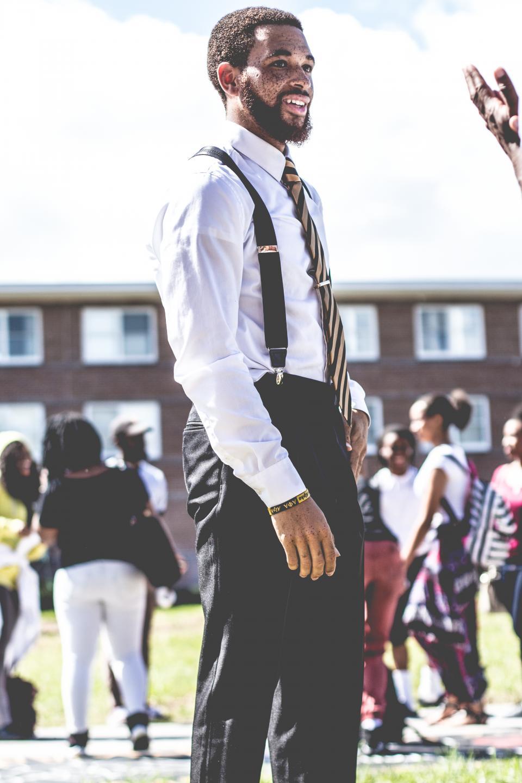 guy, man, suspender, people, male, necktie, beard, black, african american, school, students, women, girls, bokeh, backpack, building, rooms, study, university