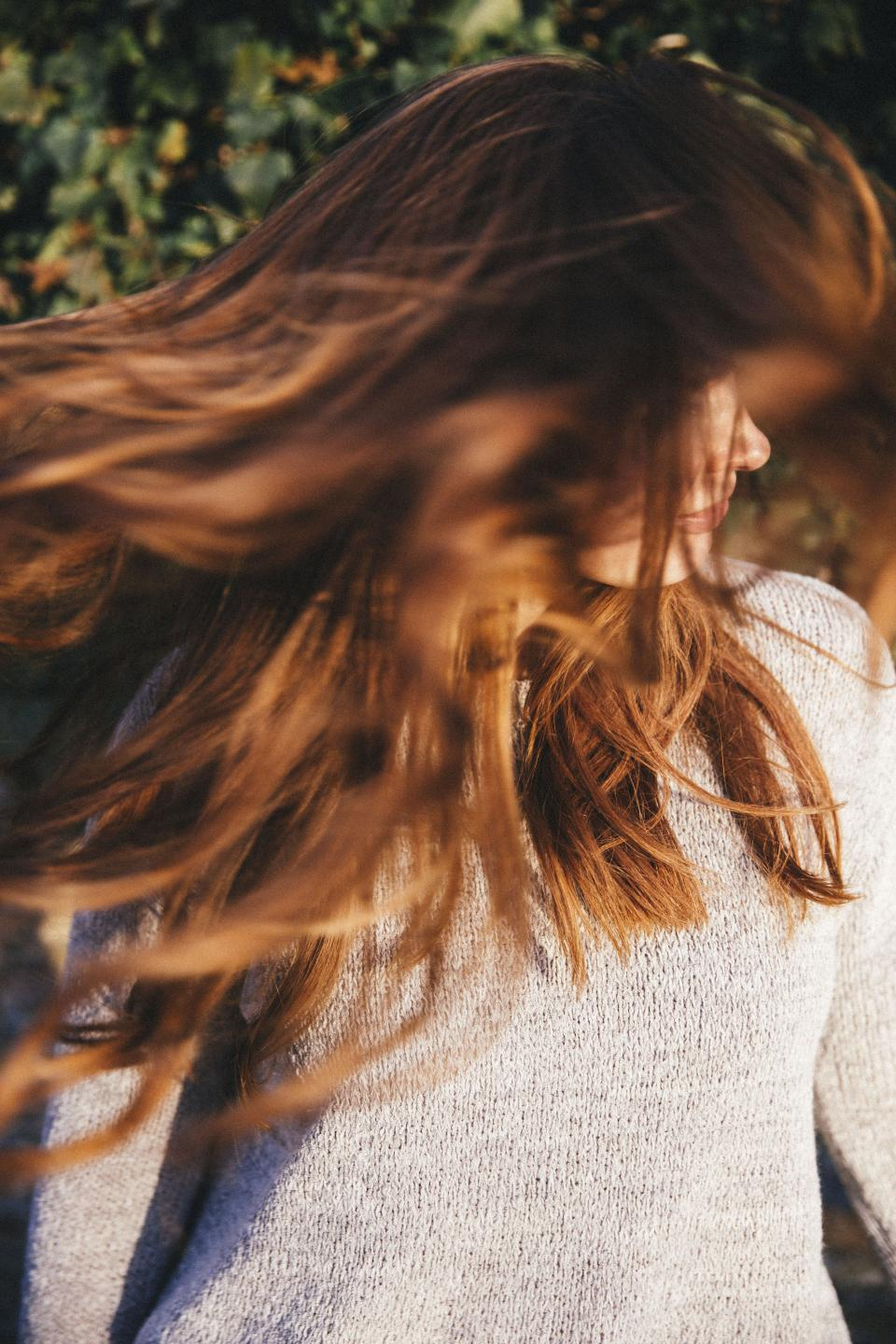 people, woman, hair, sunny, nature, green, leaves