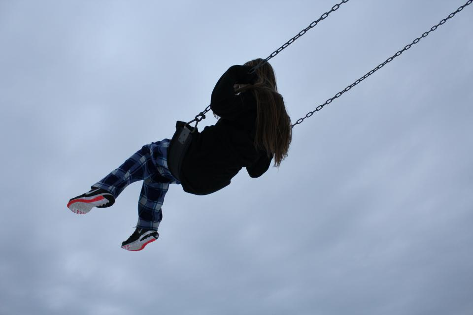 people, kid, child, happy, playground, clouds, sky, swing