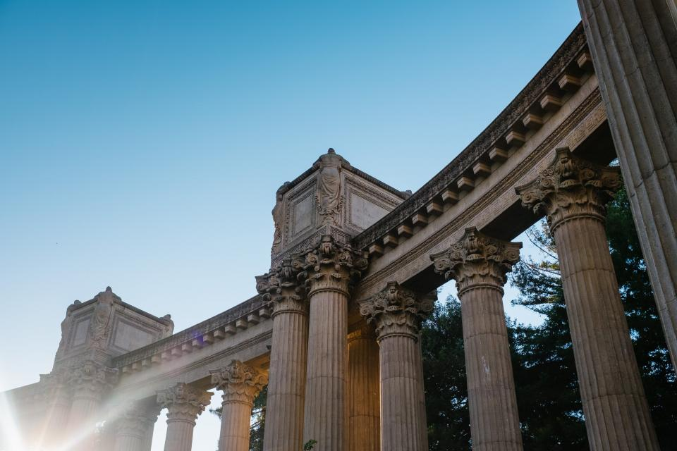 landmark, palace, fine arts, sunlight, sunrise, sky, blue