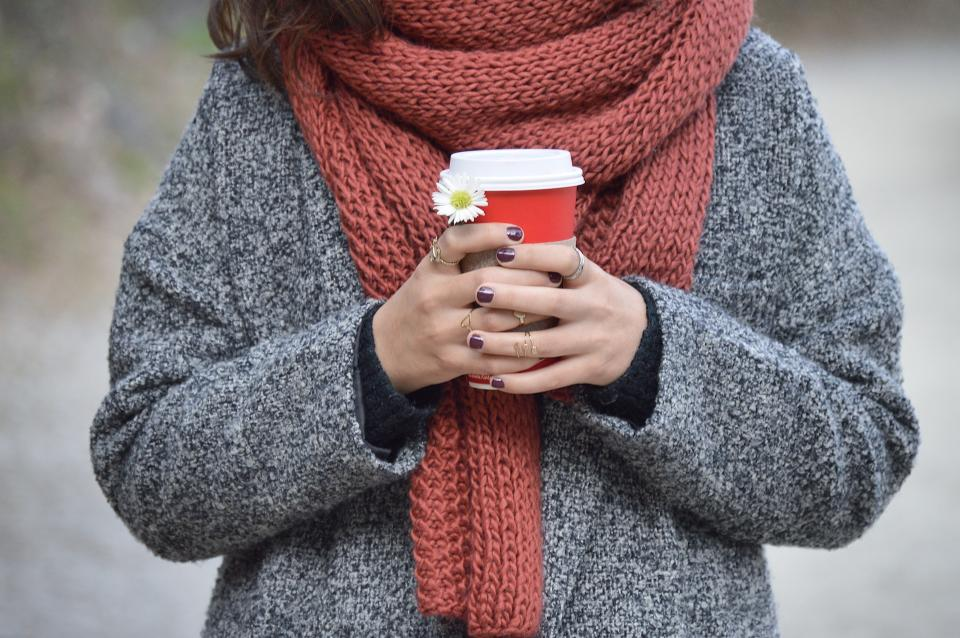 people woman coffee cold weather sweater scarf hands flower white autumn fall manicure accessories ring
