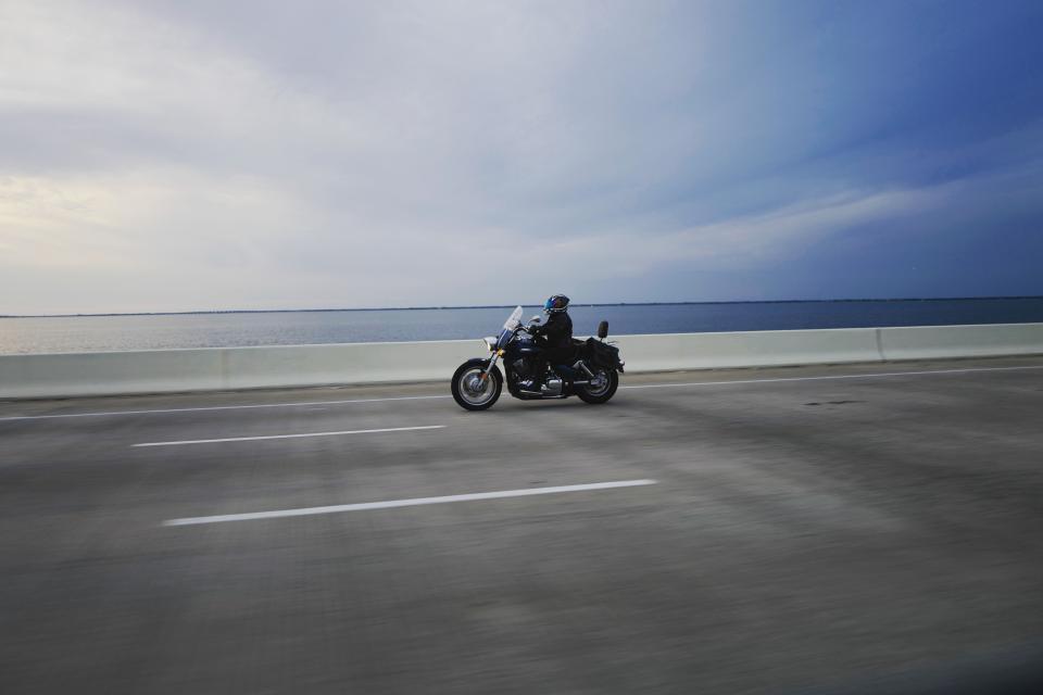 horizon, people, riding, driving, motorcycle, motorbike, travel, road, trip, sea, ocean, water, blue, sky, clouds
