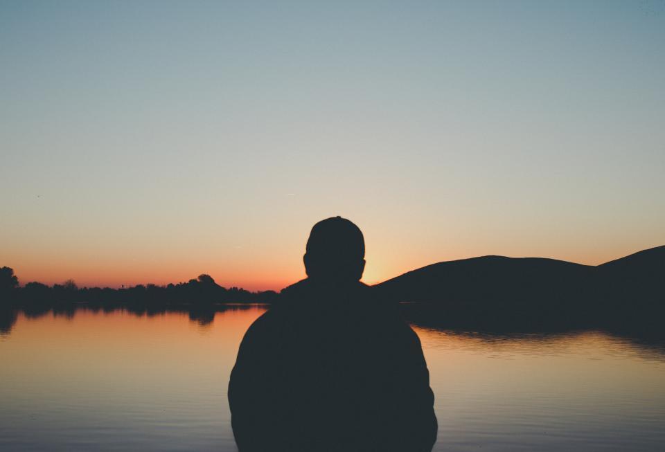 people, man, alone, thinking, lake, water, dark, mountain, landscape, nature, sunset, silhouette, sky