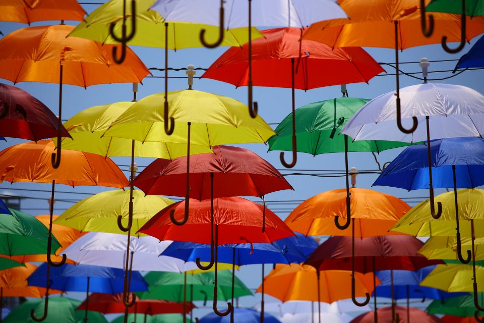 umbrella, rain, blue, yellow, red, green, white, hang, art, summer, sunny, colorful