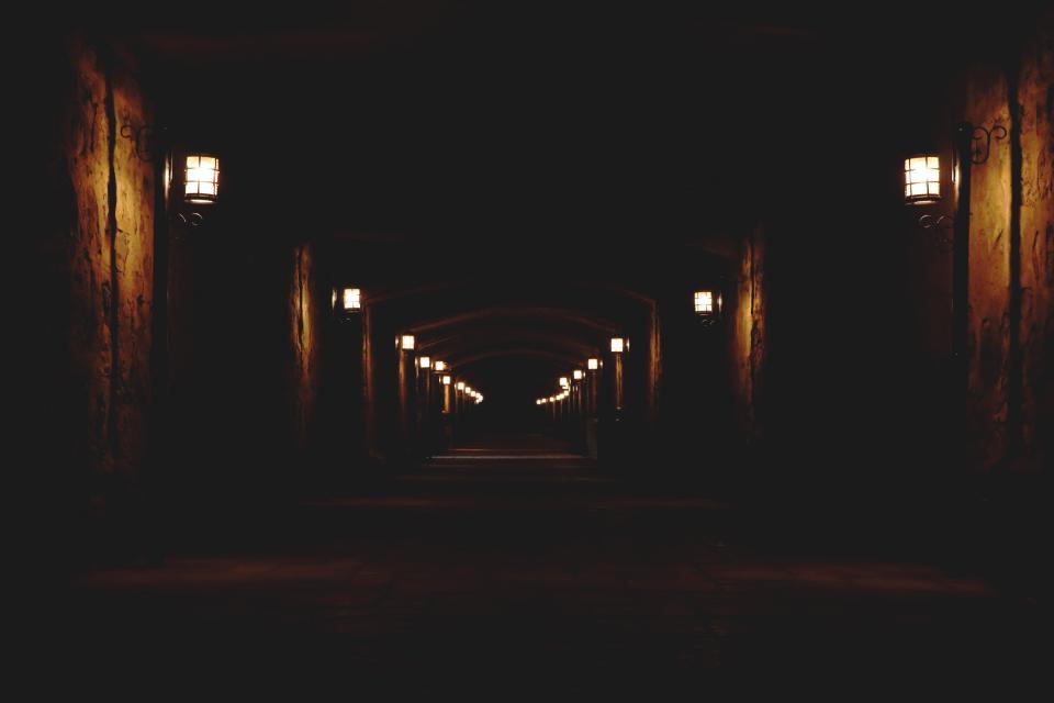 dark night street lamp light empty