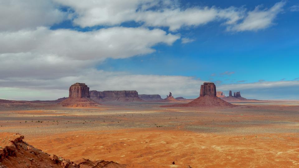 monument, valley, landscape, view, horizon, blue, sky, clouds, park, desert