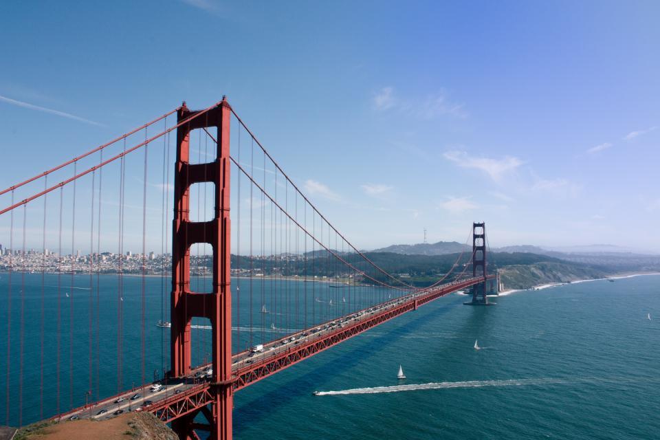 Golden Gate Bridge San Francisco architecture bay water sailboats water blue sky landscape city