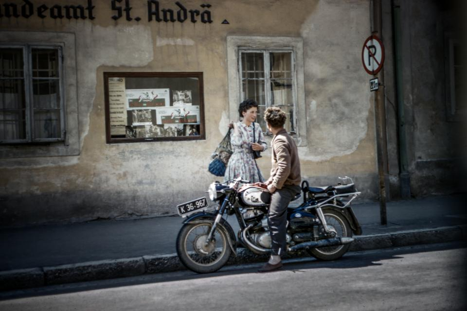 people, man, woman, motorcycle, road, old, building, store, shop, street, vignette