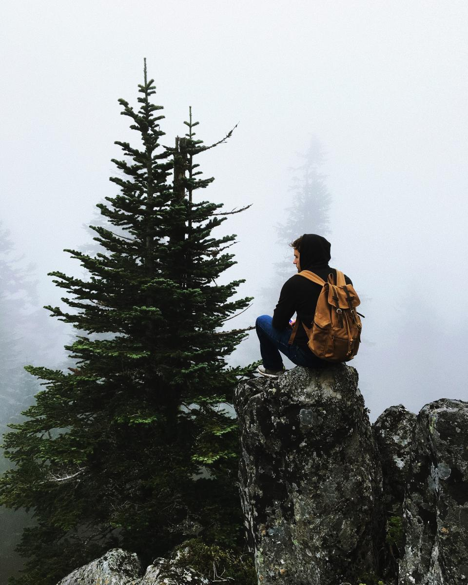 people man back sitting mountain peak summit fog cold bag forest trees pine rocks