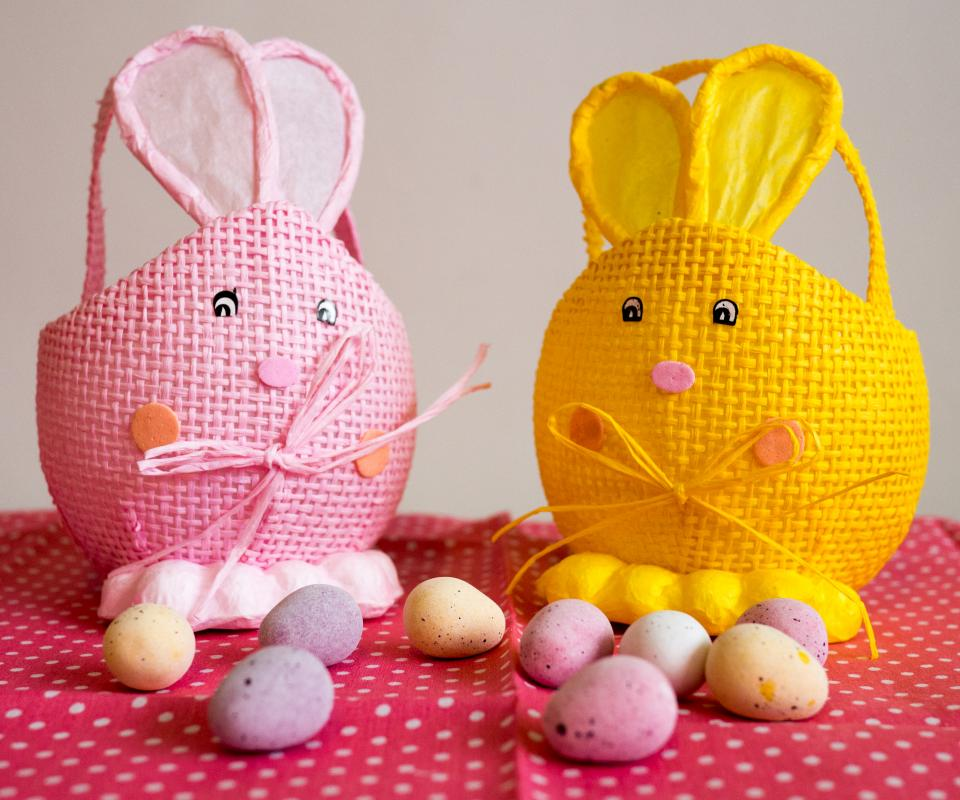 egg, basket, easter, colorful, cloth