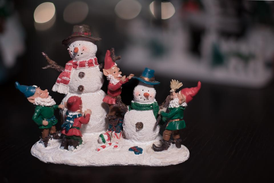 christmas, display, snowman, toy, sculpture
