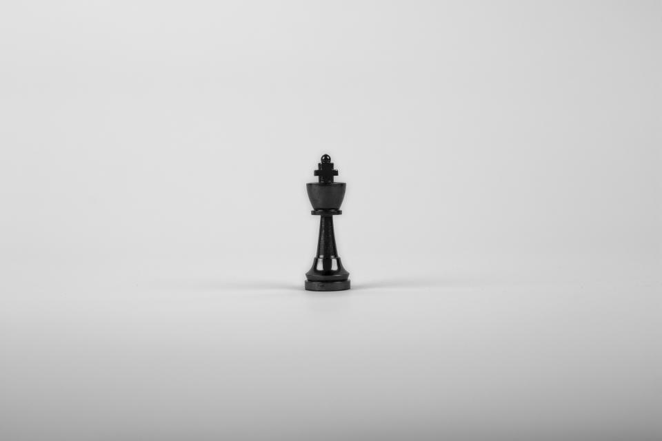 black and white, chess, piece, figurine, king, sculpture, shadow, single