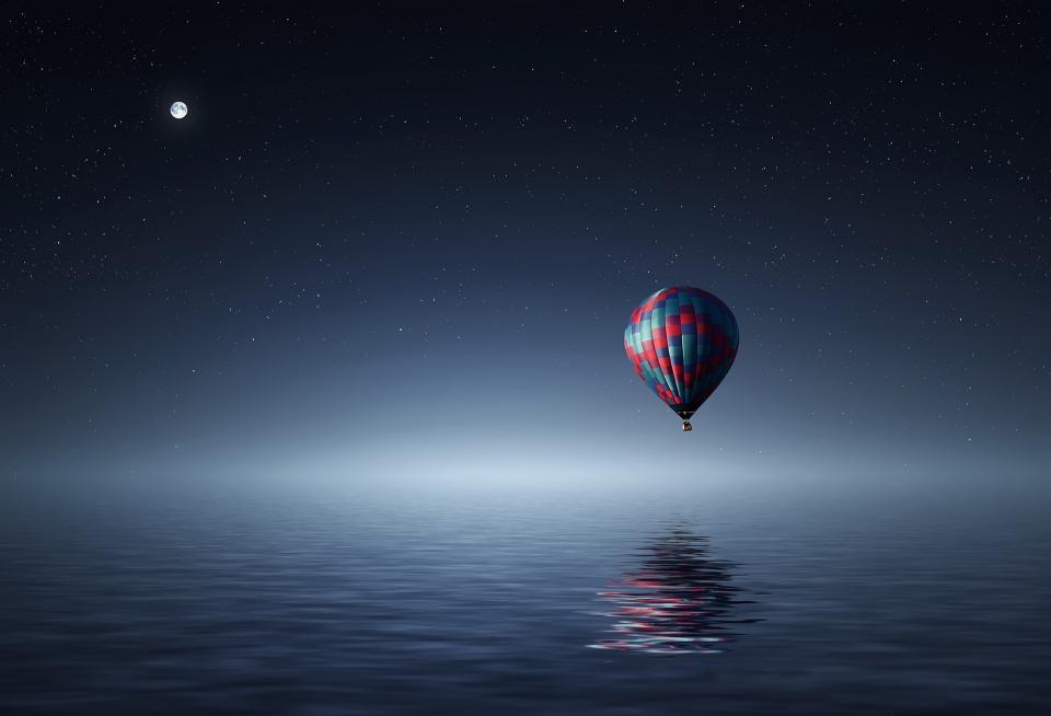 hot air balloon, blue, sky, stars, moonlight, nature, sea, ocean, reflection, travel, adventure, transportation, airship, flying, float
