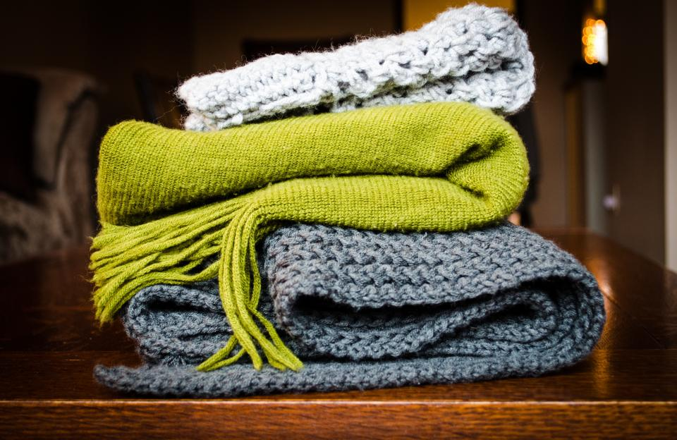 blanket scarf cold cloth table green grey white