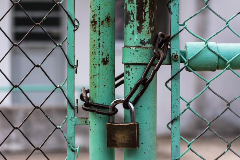 lock, gate, chain, green, wire, secure, rusty