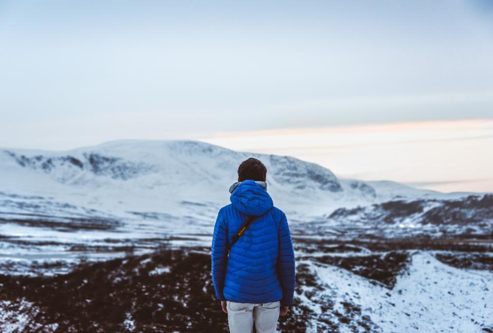 people, man, alone, travel, adventure, camera, photographer, photography, snow, winter, mountain, jacket